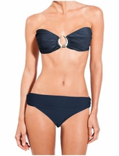 Lenny Niemeyer Bone Touch Bandeau Top & Bottom in Blue Stone