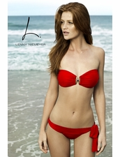 Lenny Niemeyer Pisces Bandeau Top and Sash Bottom in Red