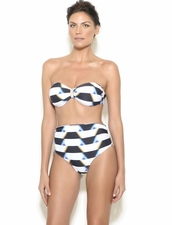 Lenny Swimwear Ruched Bandeau High Waist Full Coverage Bikini