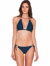 Lenny Niemeyer Double Halter Top & String Bottom in Blue Stone