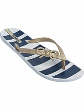 Ipanema Maritime Flip Flop in White/Gold