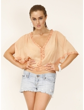 Michelle Jonas TRAVELWEAR Short Butterfly Top in Nude