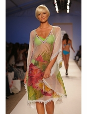 Naila Floral Kaftan with Crochet detail Beach Cover-Up