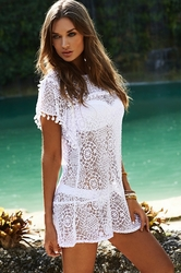 PilyQ  Water Lily Pom Pom White Dress **2014 Collection**