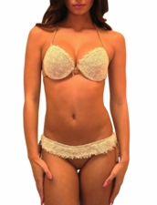 Pin-Up Stars Swimwear Balconette Push-up Squaw Bikini in Tan