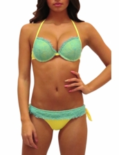 Pin-Up Stars Swimwear Balconette Push-Up Squaw Bikini in Yellow