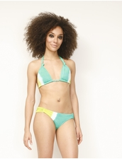 Vitamin A Gold Swimwear Artisan Dye Viridian Knot Top and Candy Bottom Bikini