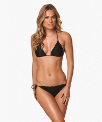 Vix Swimwear Solid Black Ripple Triangle Top & Tie Side Bottom Bikini