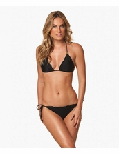 Vix Swimwear Solid Black Ripple Triangle Top & Tie Side Bottom