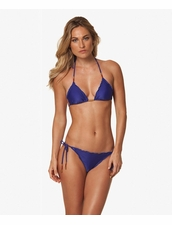 Vix Swimwear Solid Blue Ripple Triangle Top & Tie Side Bottom Bikini