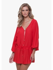 Vix Swimwear Solid Red Adrina Caftan