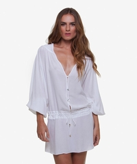 Vix Swimwear Solid White Adrina Caftan ** 2014 Collection **