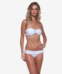 Vix Swimwear Solid White Strap Bandeau & Gathering Bottom ** 2014 Collection **