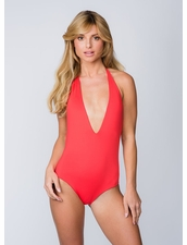 Water Glamour Swimwear Skylar Reversible Plunging One Piece in Hot Coral