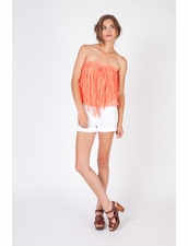 Young, Fabulous & Broke Fringe Coral Tube Top