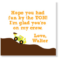 Road Work Party Favor Tag/Set of 9