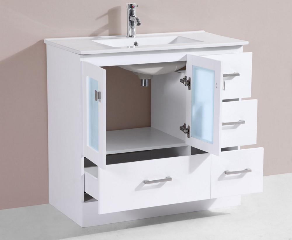 36 Hermosa White Single Modern Bathroom Vanity With Integrated Sinkby P