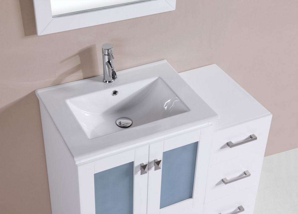 36 Hermosa White Single Modern Bathroom Vanity With Side Cabinet And In