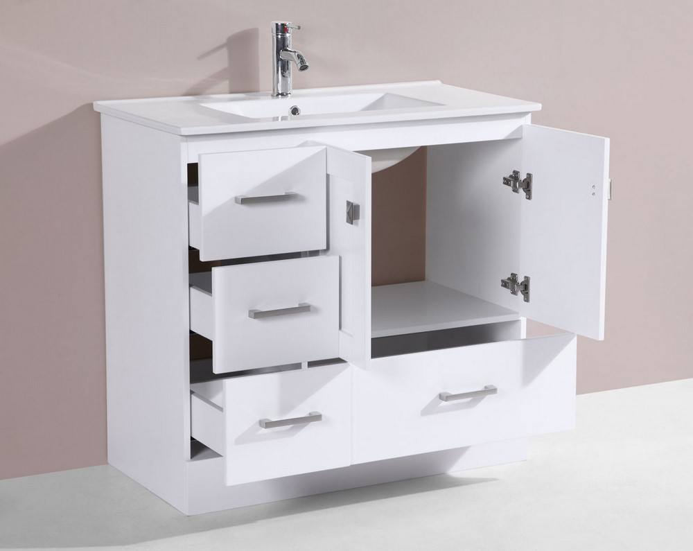 36 Redondo White Single Modern Bathroom Vanity With Integrated Sinkby P