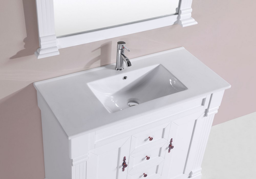 40 Balboa White Single Traditional Bathroom Vanity With Integrated Sink