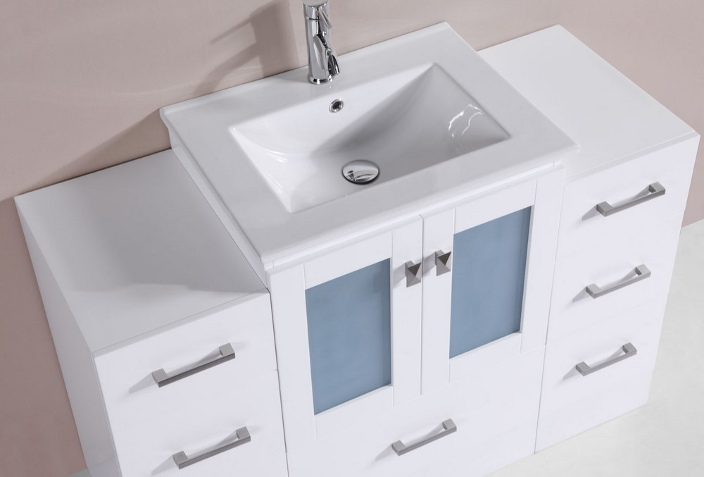 48 Hermosa White Single Modern Bathroom Vanity With 2 Side Cabinets And
