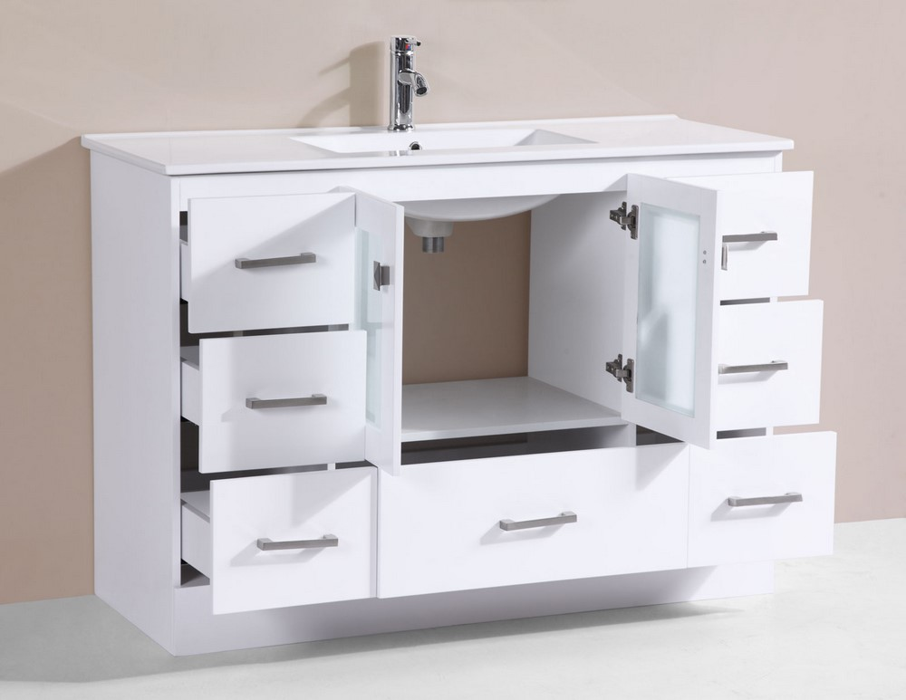 48 Hermosa White Single Modern Bathroom Vanity With Integrated Sinkby P