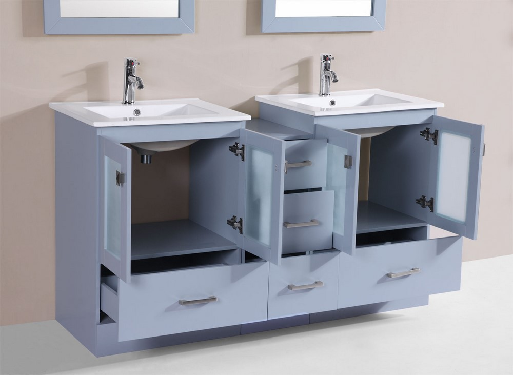 double modern bathroom vanity with side cabinet and integrated sinks