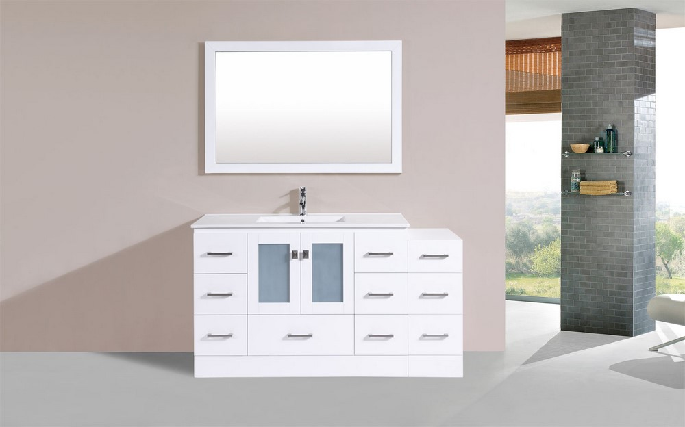 60 hermosa white single modern bathroom vanity with side cabinet and