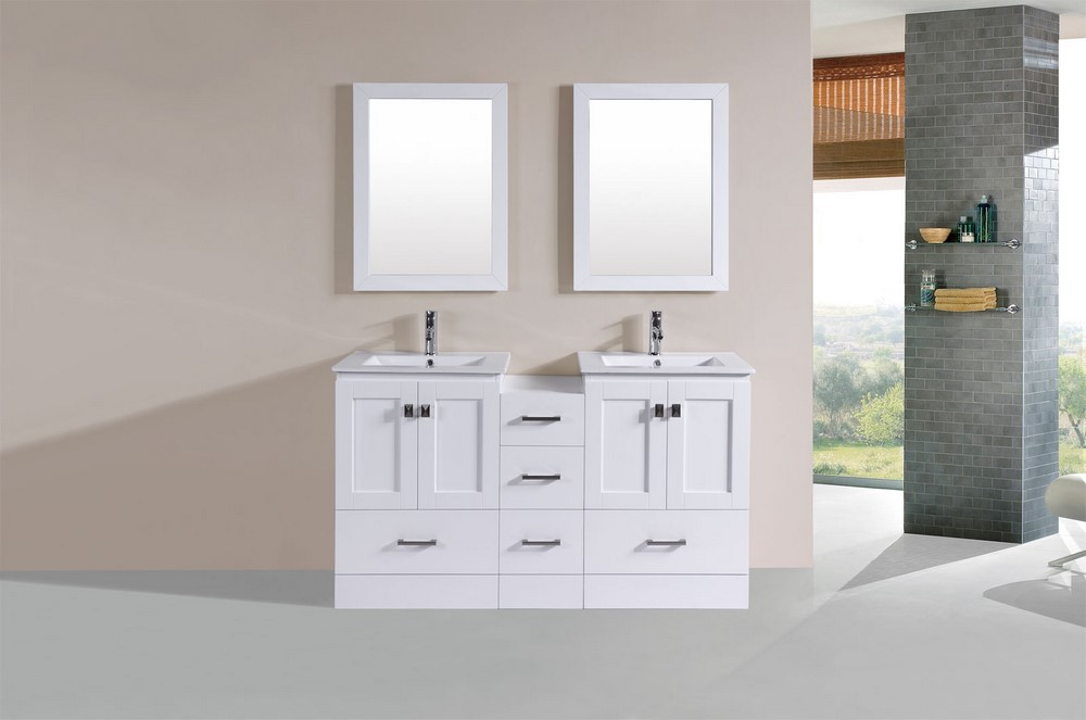 60 redondo white double modern bathroom vanity with side cabinet and