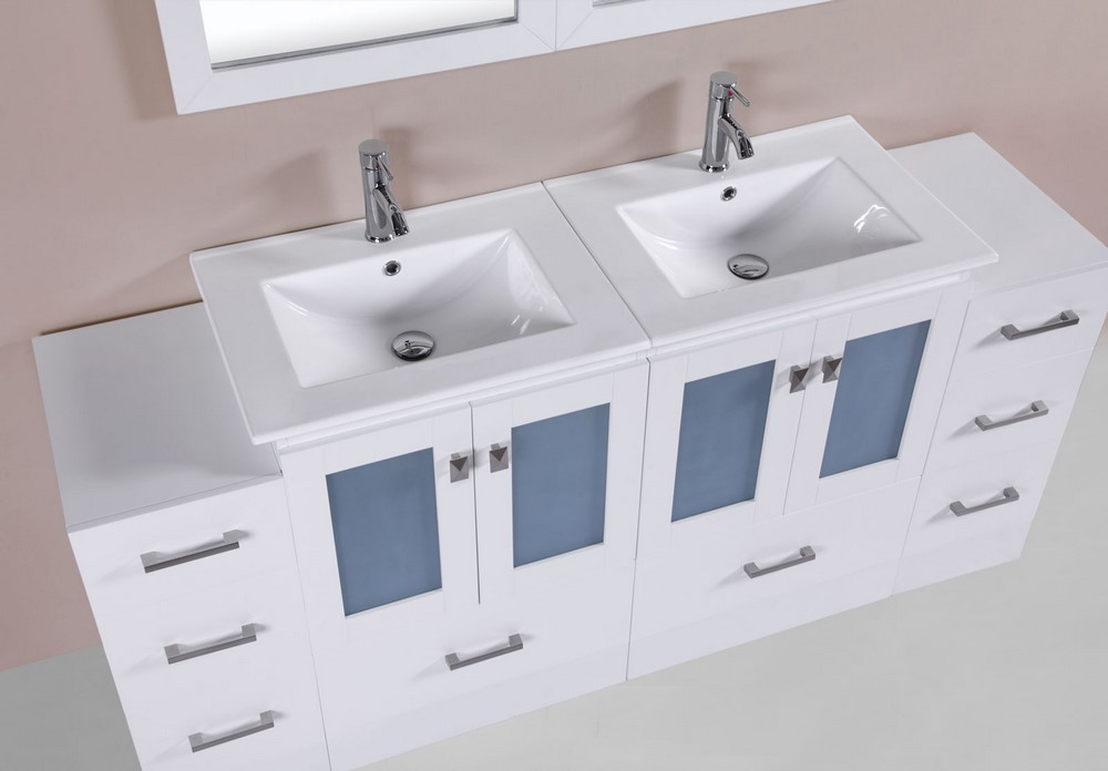 72 Hermosa White Double Modern Bathroom Vanity With 2 Side Cabinets And