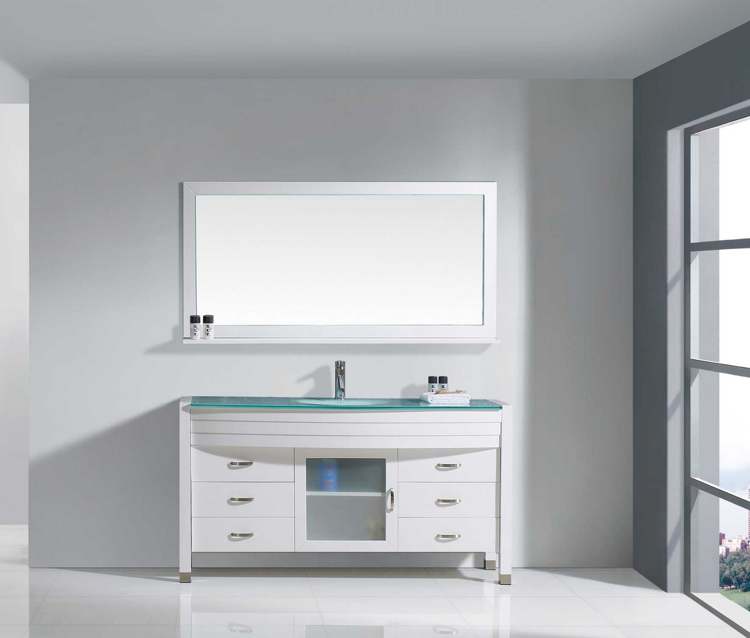 usa ava 61 single bathroom vanity cabinet set in white tempered glass