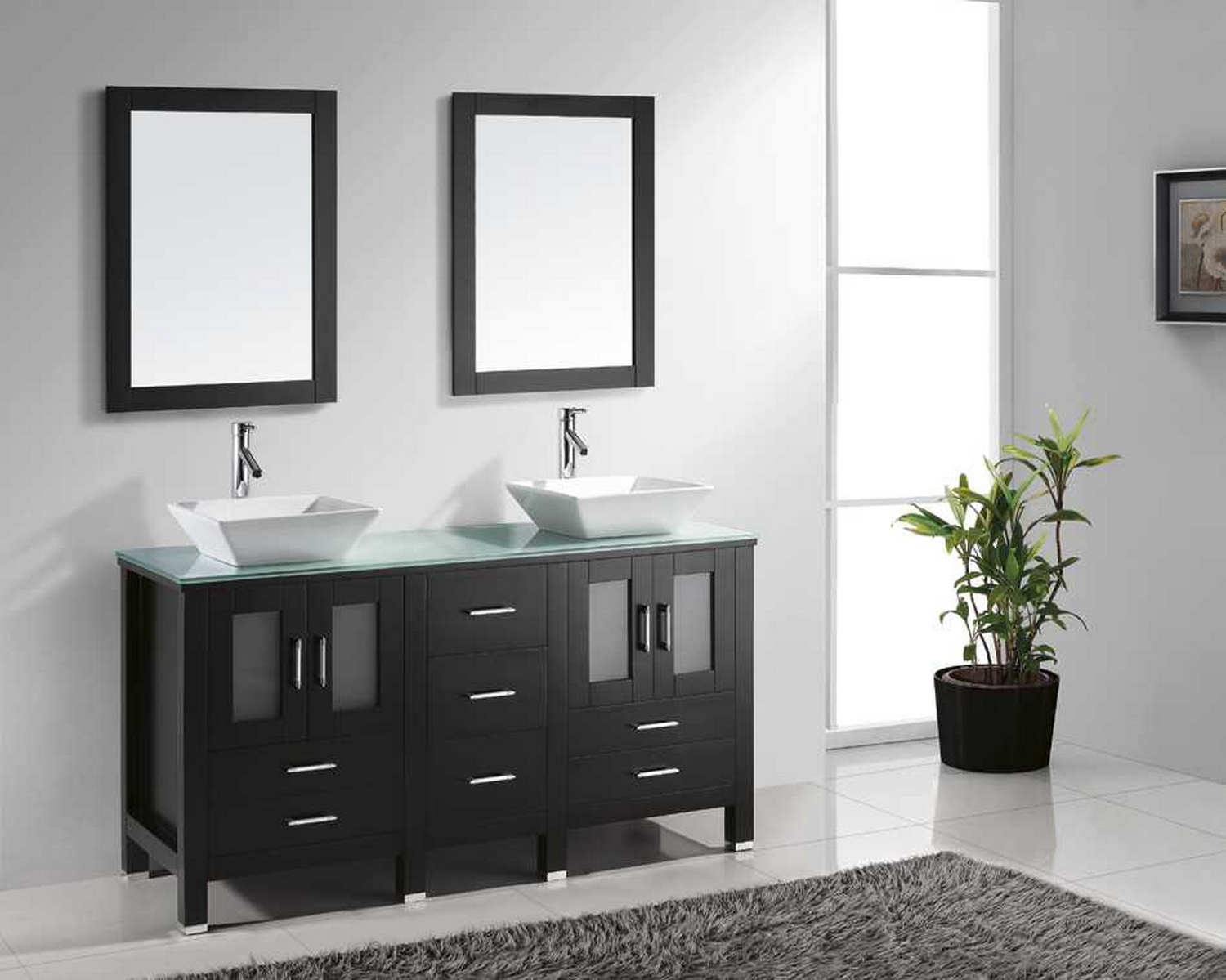 60 double bathroom vanity cabinet set in espresso tempered glass