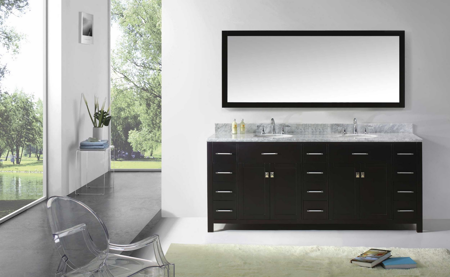 transitional 78 double sink bathroom vanity set espresso