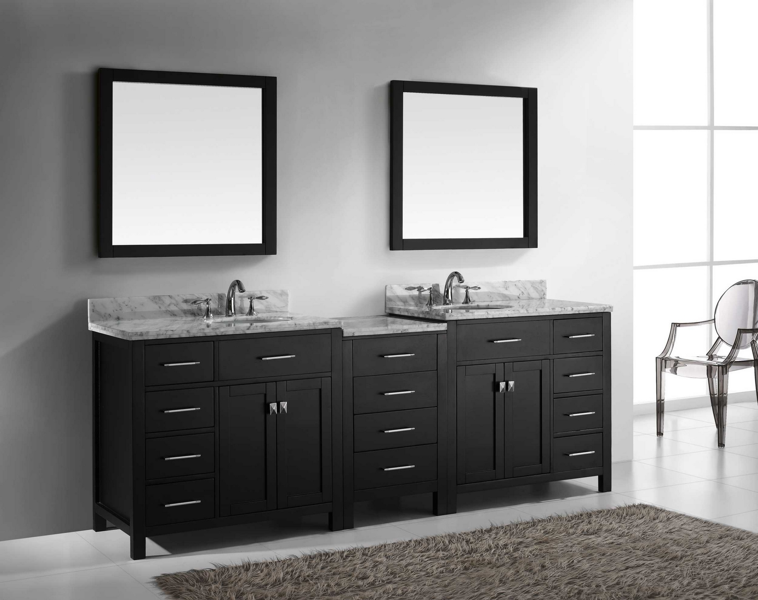 virtu usa caroline parkway 93 double bathroom vanity cabinet set in
