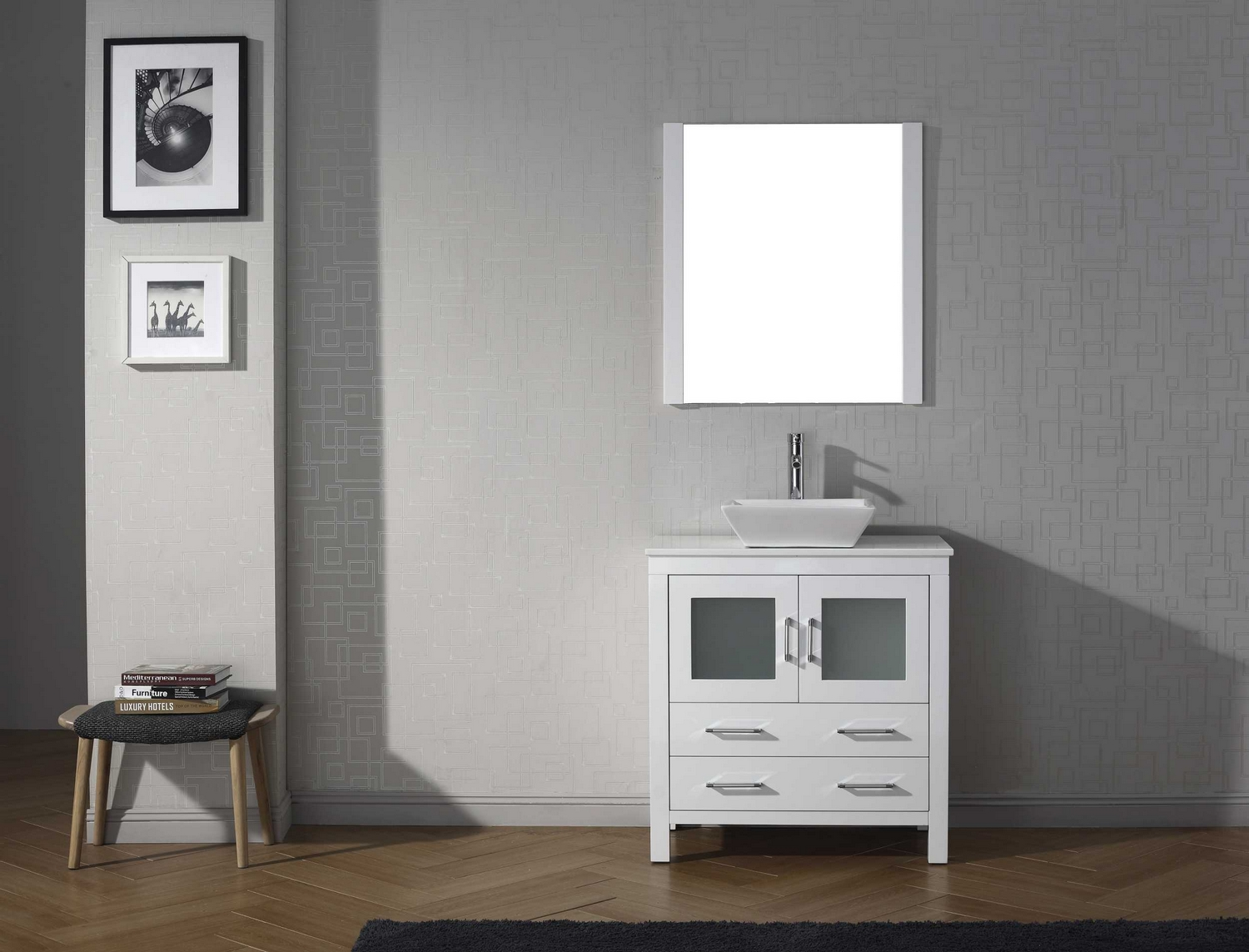 virtu usa dior 36 single bathroom vanity cabinet set in white pure