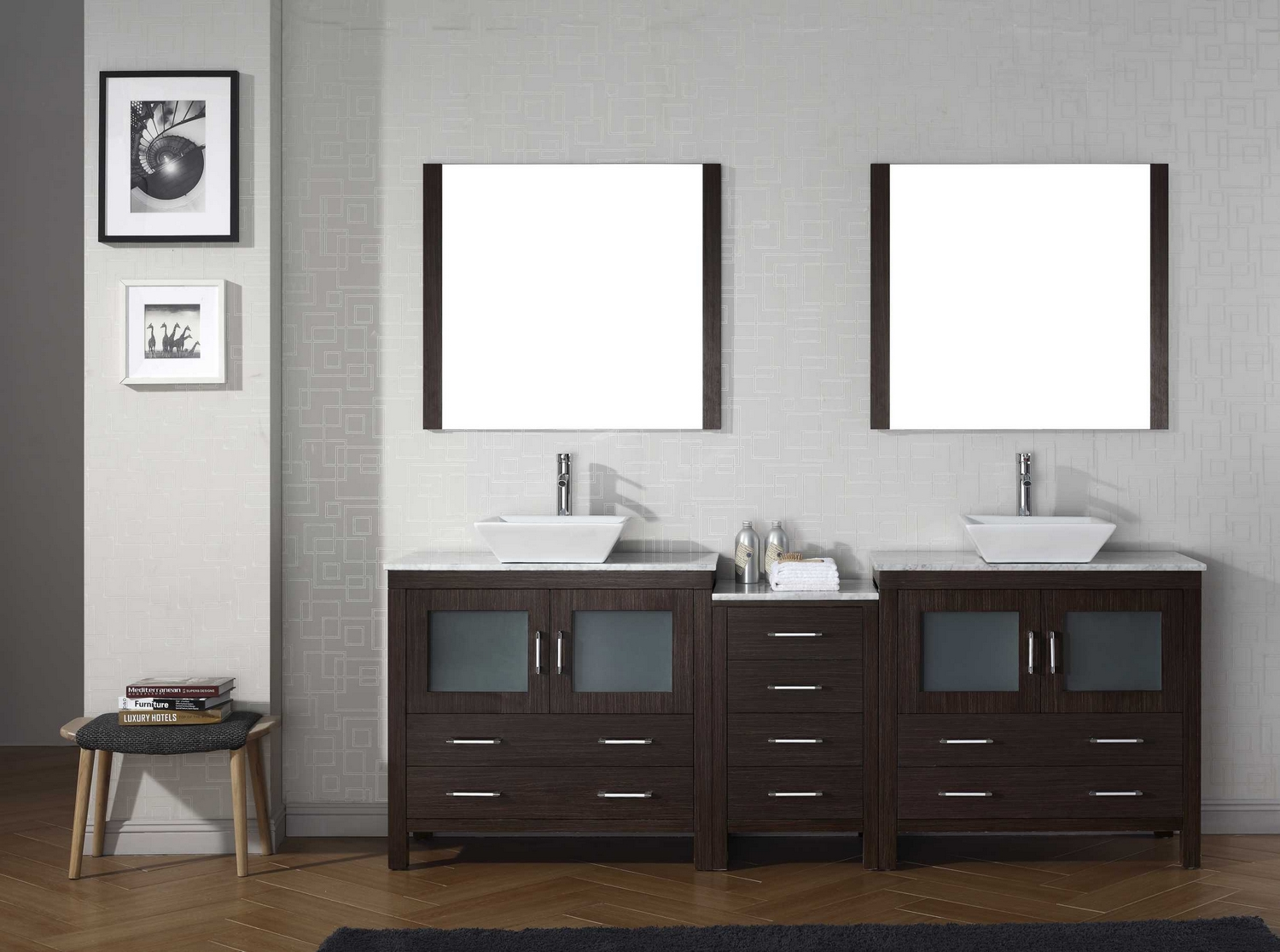 modern 78 double sink bathroom vanity set espresso w polished chrome
