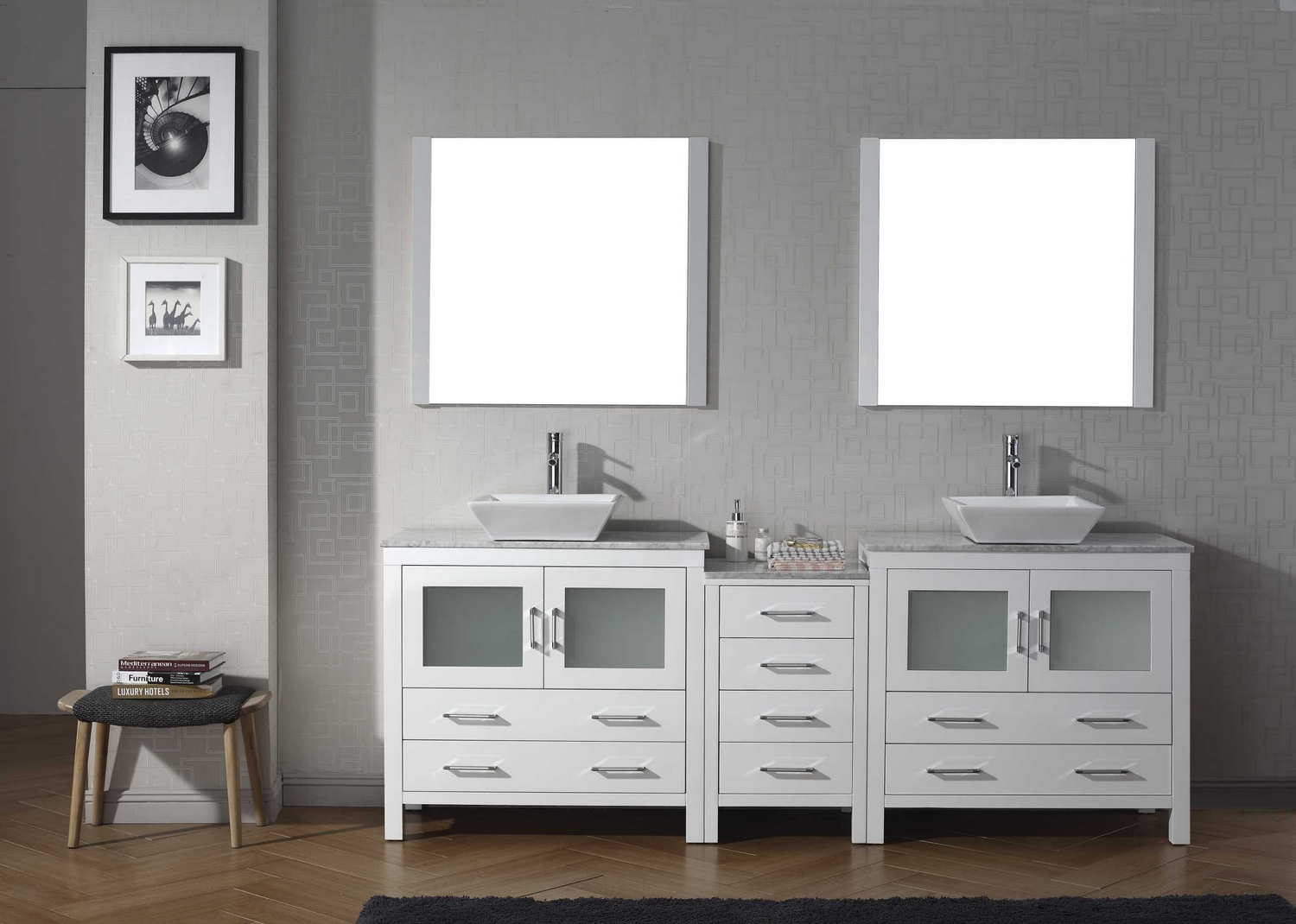 modern 78 double sink bathroom vanity set white w polished chrome