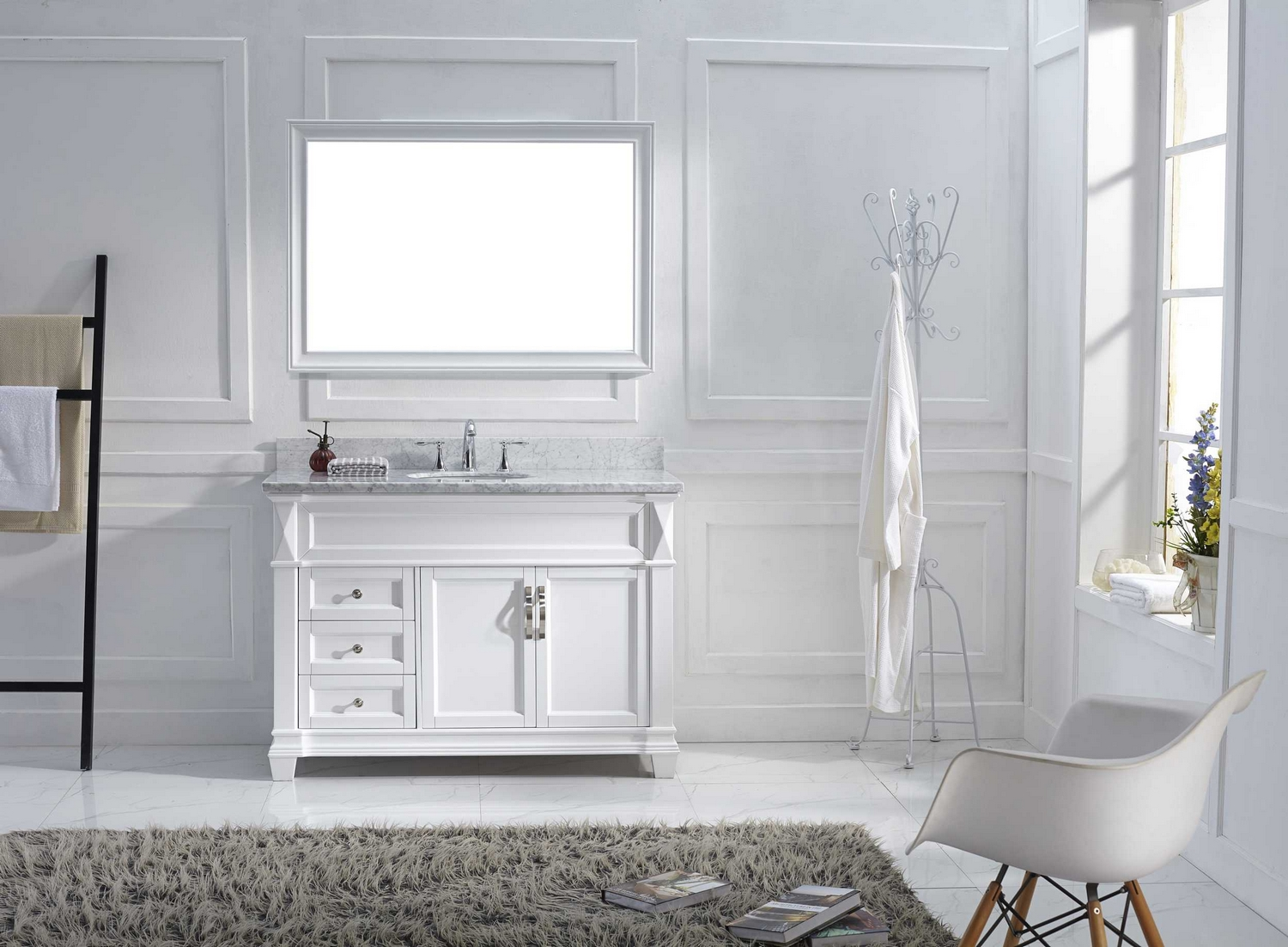 48 single bathroom vanity cabinet set in white italian carrara white