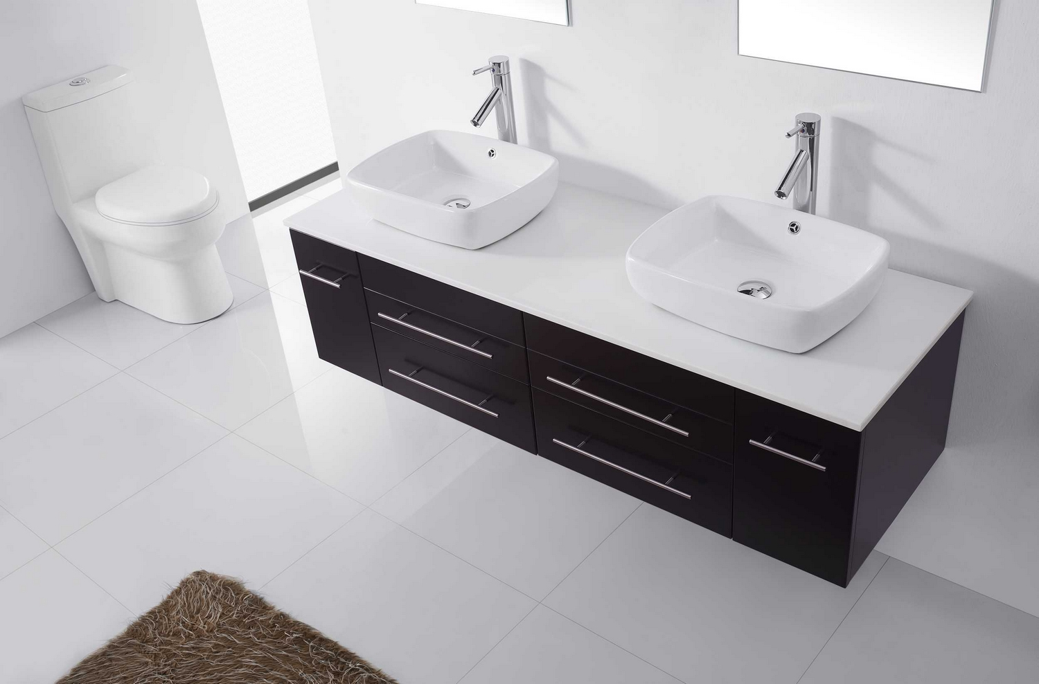 Virtu Usa Augustine  Double Bathroom Vanity Cabinet Set In Espresso