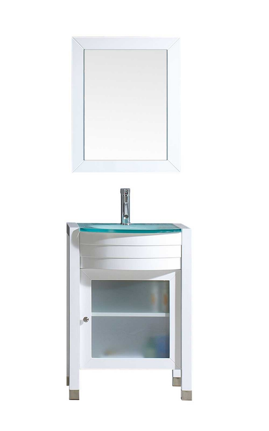 usa ava 24 single bathroom vanity cabinet set in white tempered glass