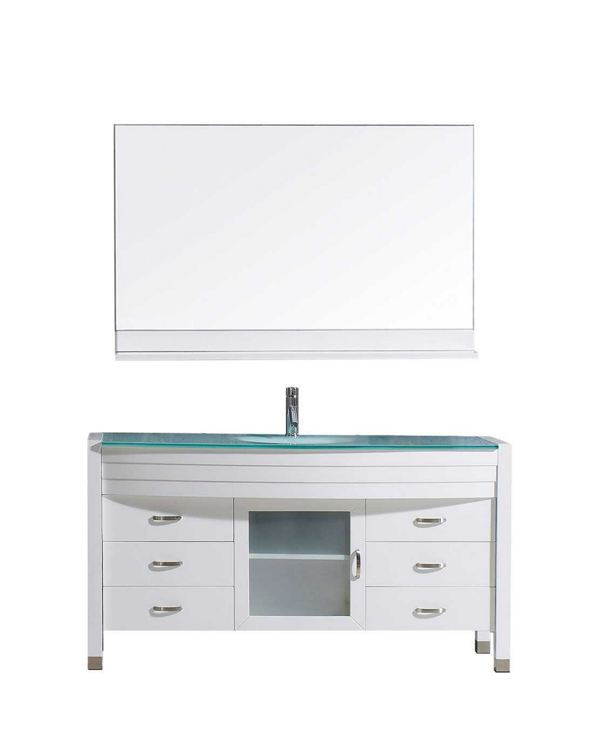 usa ava 55 single bathroom vanity cabinet set in white tempered glass