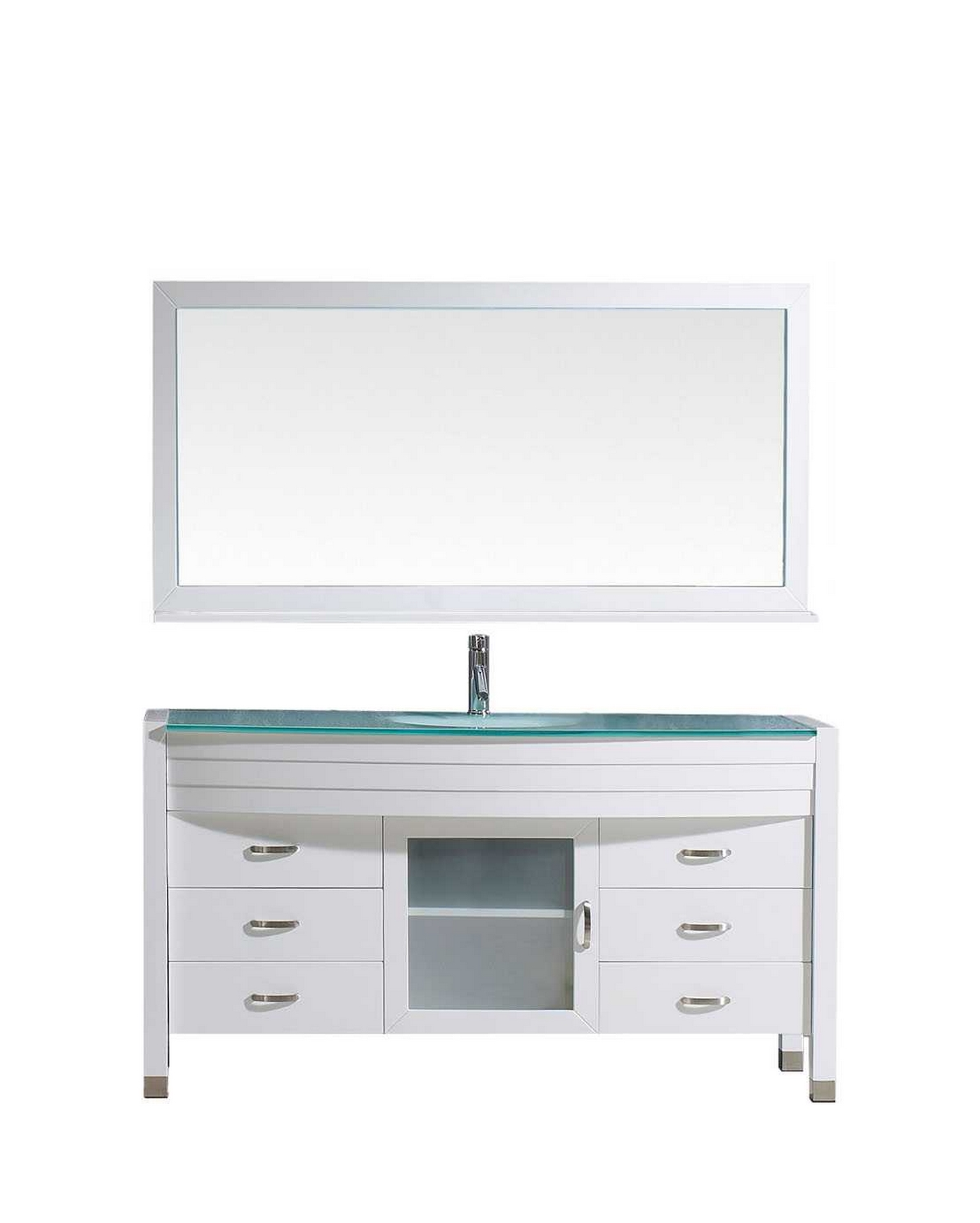 virtu usa ava 61 single bathroom vanity cabinet set in white tempered