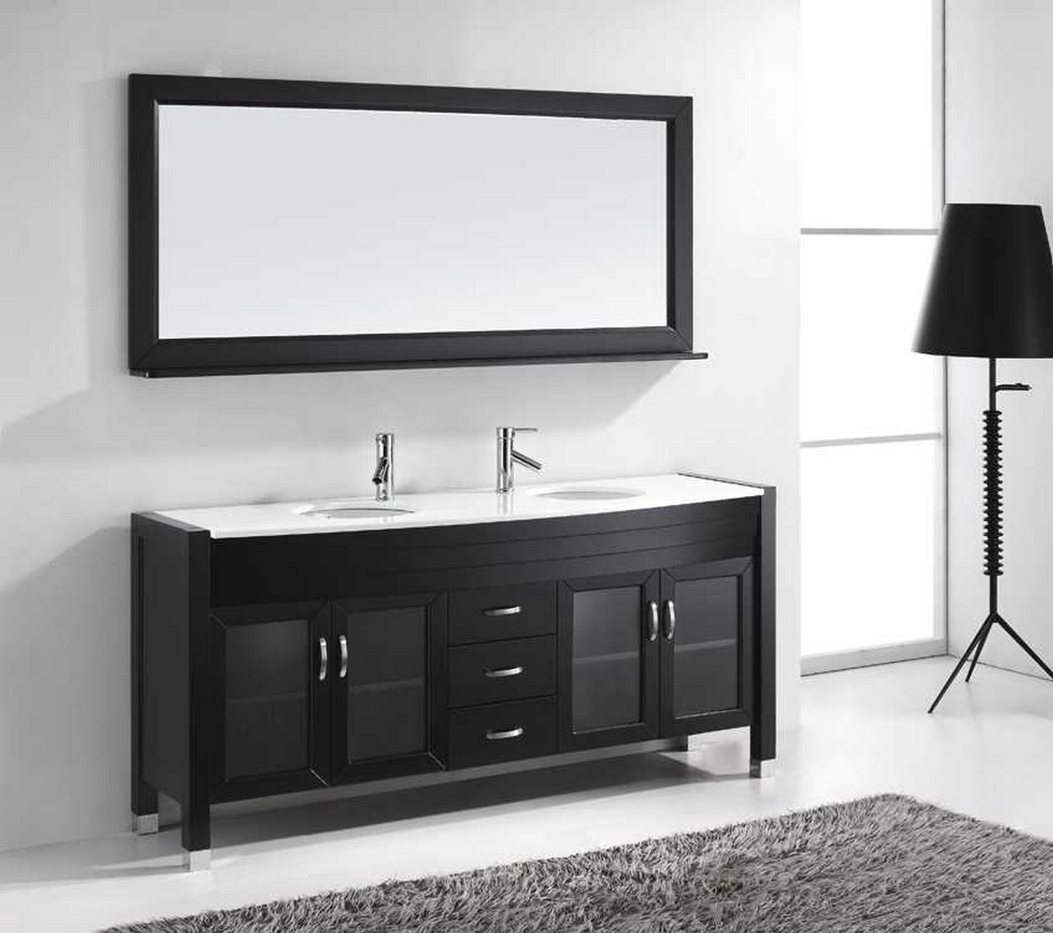usa ava 71 double bathroom vanity cabinet set in espresso white stone