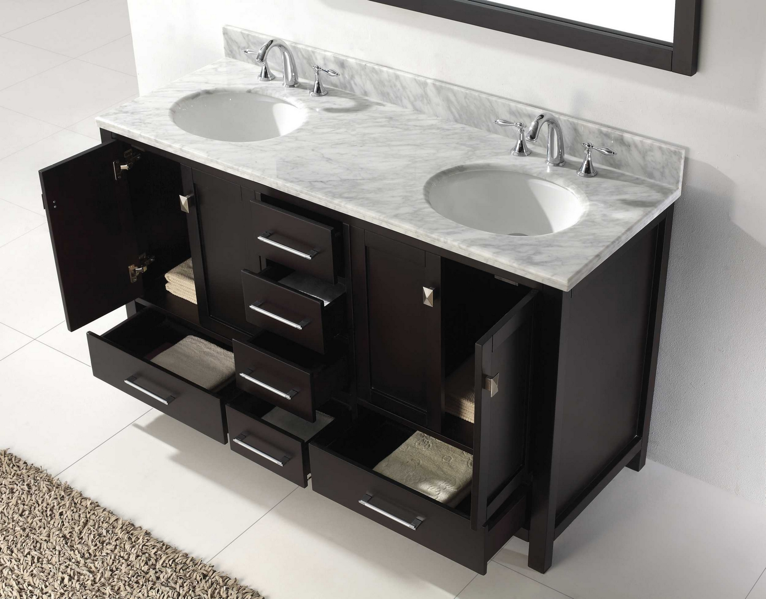 usa caroline avenue 60 double bathroom vanity cabinet set in espresso