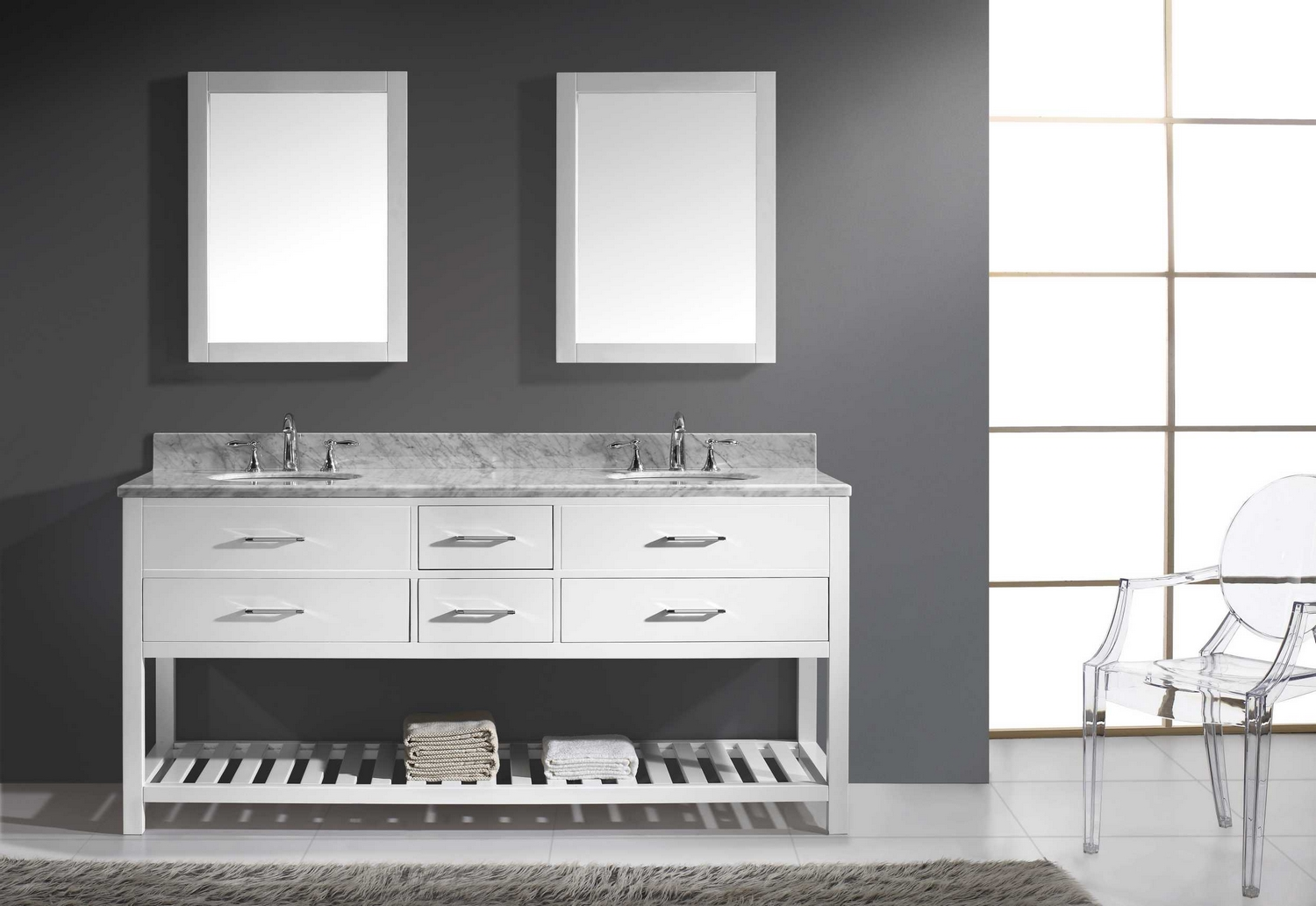 virtu usa caroline estate 72 double bathroom vanity cabinet set in