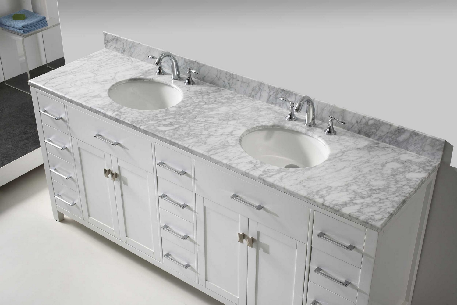 virtu usa caroline parkway 78 double bathroom vanity cabinet set in