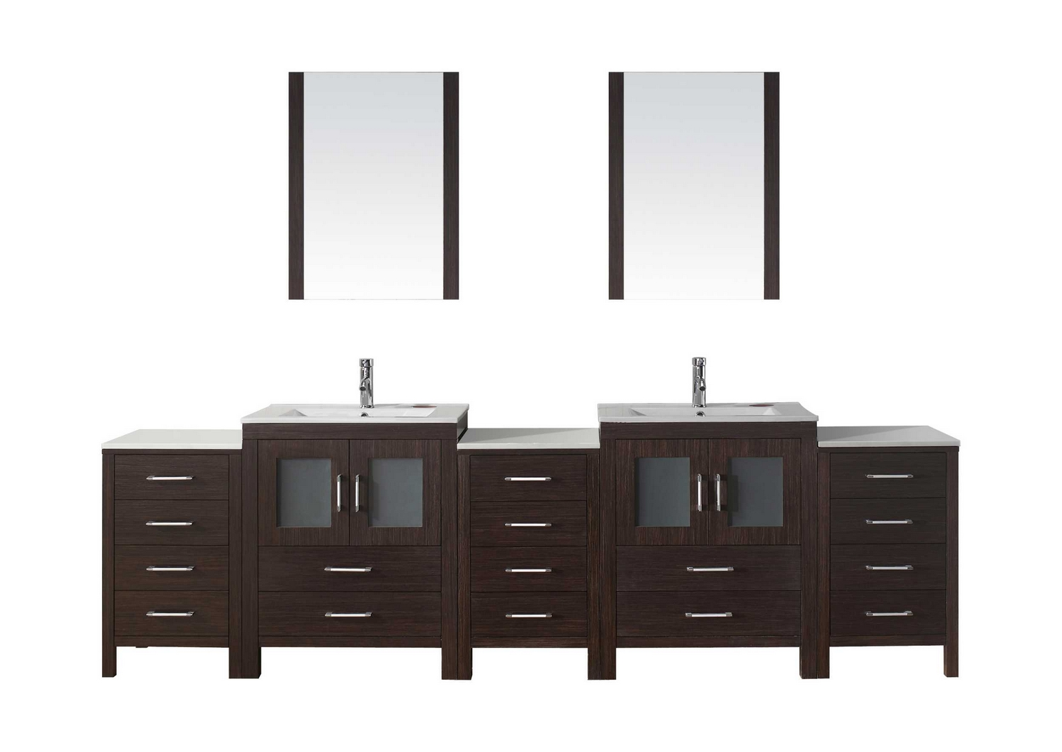 usa dior 110 double bathroom vanity cabinet set in espresso ceramic