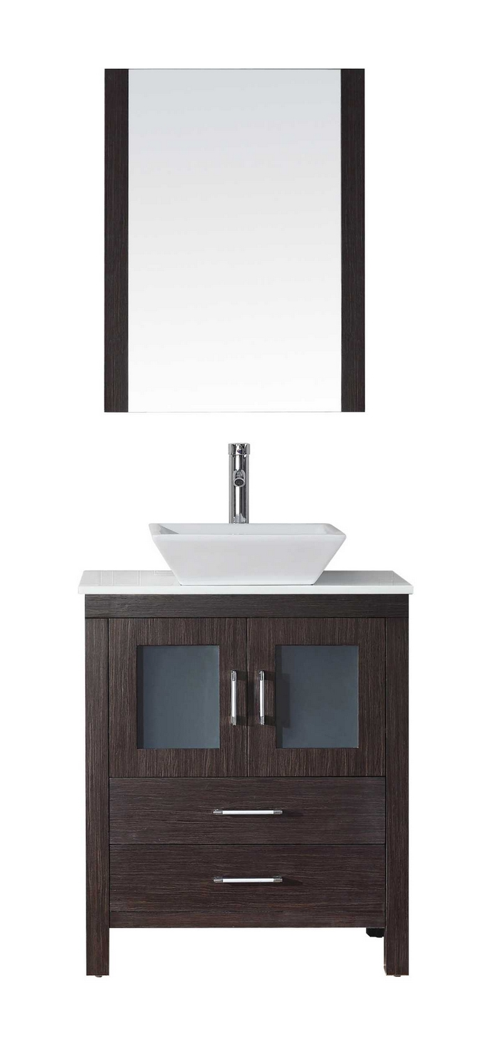 Virtu USA Dior 28quot; Single Bathroom Vanity Cabinet Set in Espresso Pure