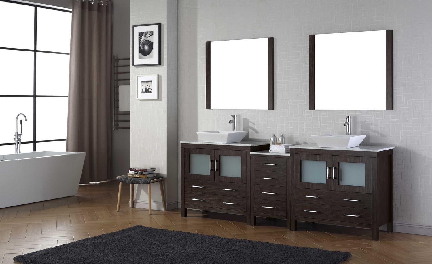 virtu usa dior 78 double bathroom vanity cabinet set in espresso