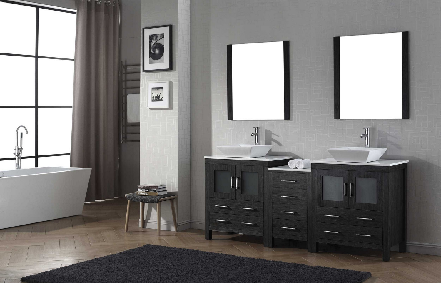 virtu usa dior 78 double bathroom vanity cabinet set in espresso pure